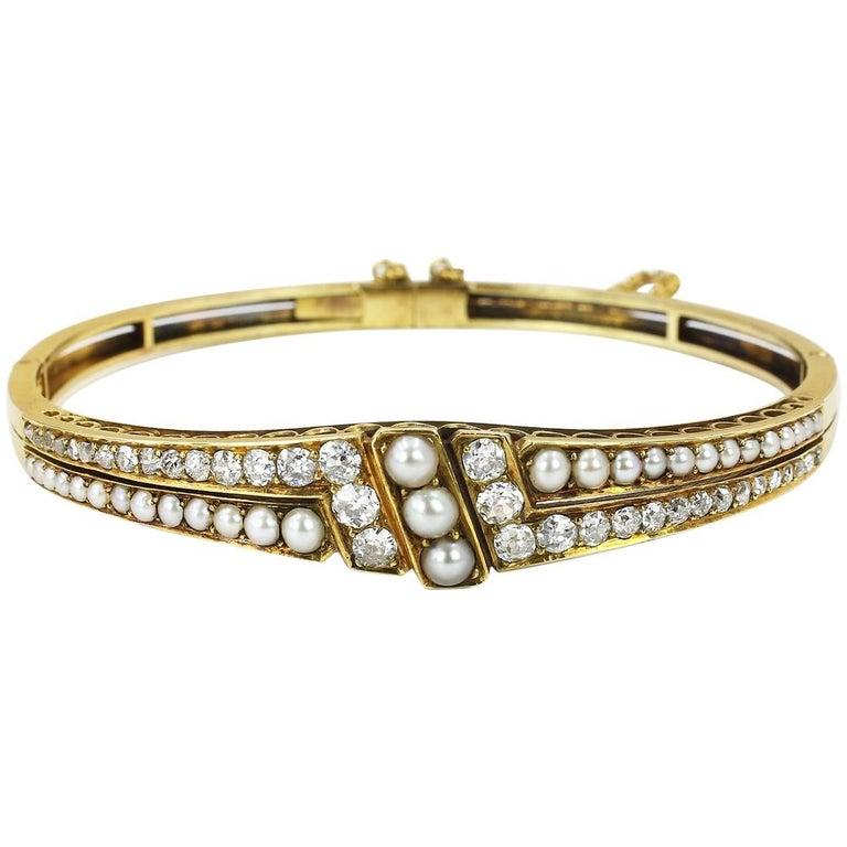 Late 19th Century Split Pearl and Diamond Hinged Bangle