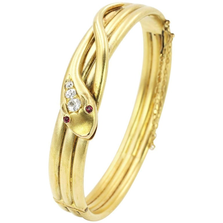 15K Late Victorian Gold and Diamond Snake Hinged Bangle Bracelet For Sale