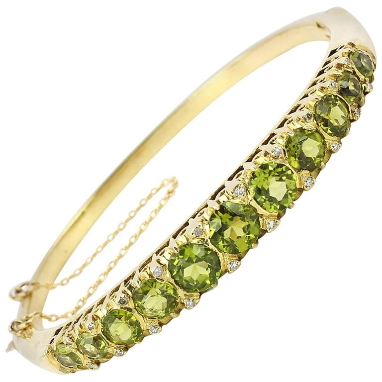 Gold Victorian Peridot and Diamond Bangle Bracelet For Sale