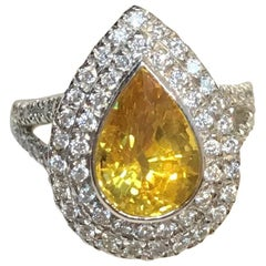 3 Carat Yellow Sapphire with .72 Carat Diamond Double Halo