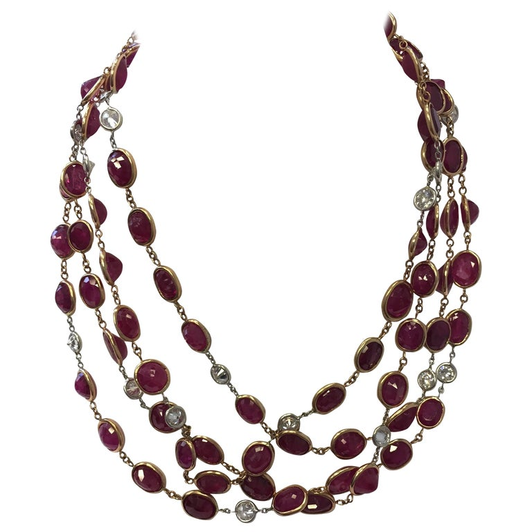 Multi-Shape Ruby and Diamond Necklace