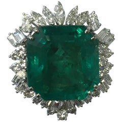 Very Fine Colombian Emerald Octagon and Diamond Ring