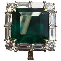 Estate Look Emerald Cut Emerald and Diamond Ring in Platinum