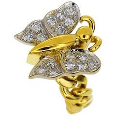 Pomellato Diamonds 18 Karat Yellow Gold Butterfly Ring