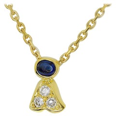 Garrard Diamond Sapphire Pendant Necklace 750 18 Karat Yellow Gold