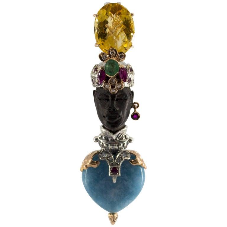 "0.95 Carat Emerald Ruby Diamond Citrine Agate Yellow Gold ""Blackamoor"" Pendant"