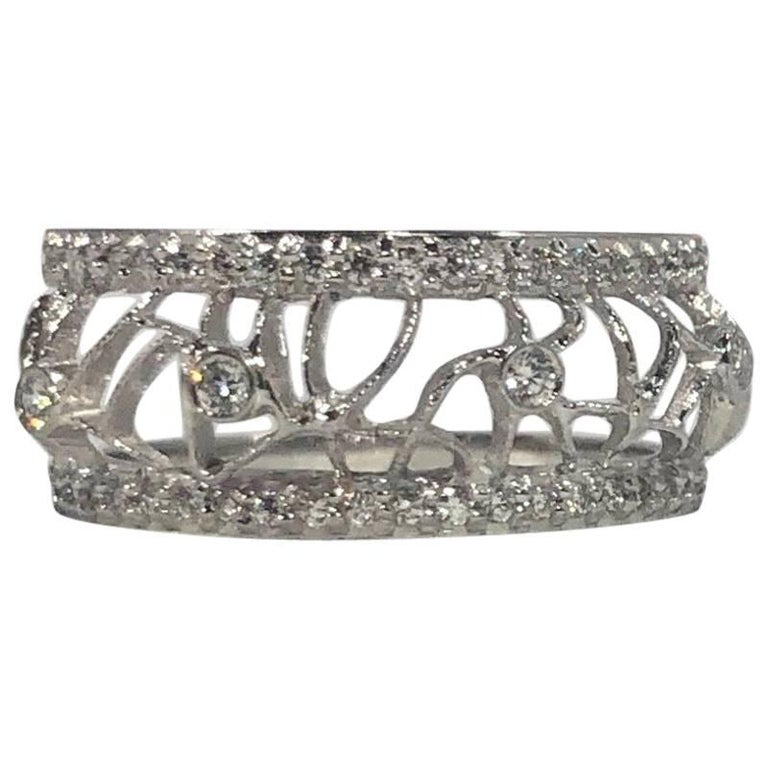 Hidalgo 18 Karat White Gold and Diamond Avant-Garde Jacket Ring