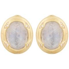 14 Karat Moonstone Diamond Earrings