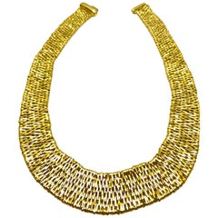 Orlando Orlandini Fiandra Wide Woven Link Gold Necklace