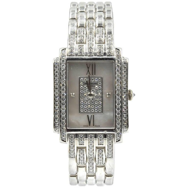 Patek Philippe Ladies white gold Diamond Gondolo Quartz Wristwatch Ref 4825