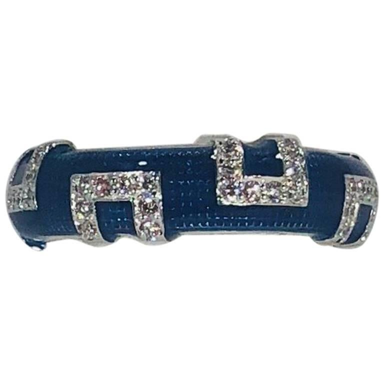 Hidalgo 18 Karat White Gold and Diamond with Bright Blue Enamel Band Ring For Sale