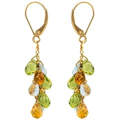 Aquamarine, Peridot and Citrine Teardrop Drop Earrings