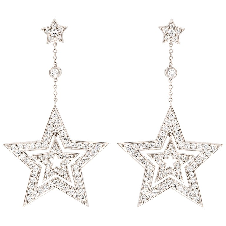 Platinum Dangle Star Earrings For