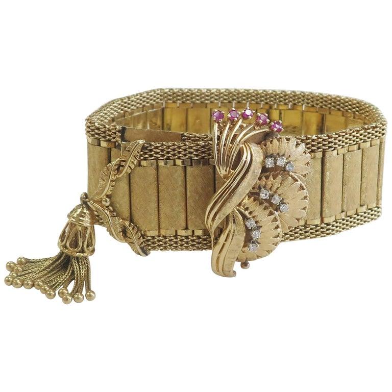 Antique Ladies Yellow Gold Diamond Ruby Vintage Covered Wristwatch, circa 1915