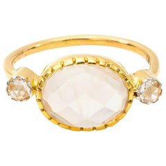 Diamond and Faceted Oval Moonstone Ring in 18 Karat Gold