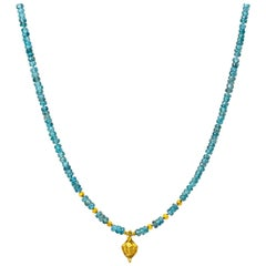 Blue Zircon and 18 Karat Gold Beaded Necklace