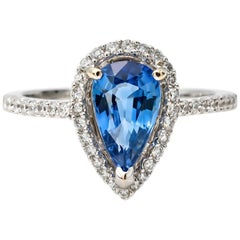 Sapphire Pear Shape and Diamond Halo Engagement Ring