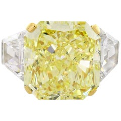 Graff GIA 10.62 Carat Fancy Yellow Diamond Platinum Ring