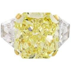 Graff GIA 10.62 Carat Fancy Yellow Diamond Platinum Ring