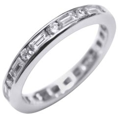 Platinum Baguette Diamond Alternating Round Diamond 3M Eternity Ring