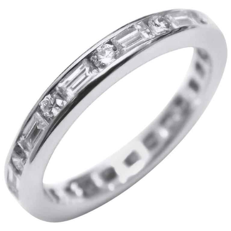 Platinum Eternity Band Baguette Diamond Alternating Round Cut Diamond