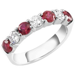 Platinum Diamond Ruby Seven Stone 1.30 Carat Prong Set Ring