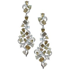 5.37 Carat of Yellow, Green and White Diamond Earrings