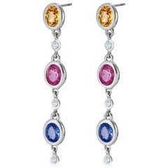 Two Inch Long Pink Blue Yellow Sapphire Diamond Drop Gold Earrings