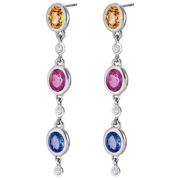 Two Inch Long Pink Blue Yellow Sapphire Diamond Drop Gold Earrings