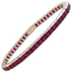 Ruby White Gold Tennis Bracelet