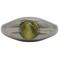 Art Deco Chrysoberyl Cat's Eye Platinum Ring