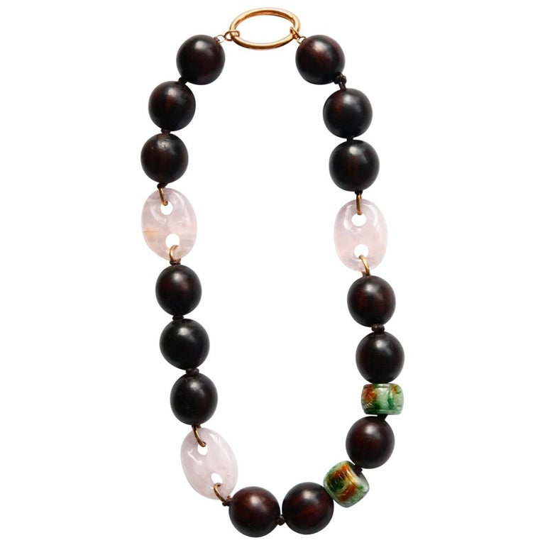 Ebony Carved Jade Rose Quartz Gold Necklace