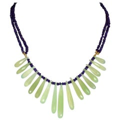 Faced Amethyst and Green Calcedonio Drops Gold Linked Cactus Necklace