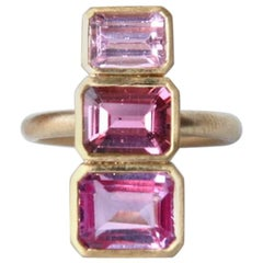 Geometric Brushed Gold Tourmaline Ring