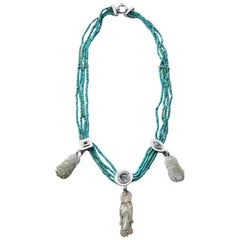 Turquoise Antiques Jade Necklace White Gold Diamonds