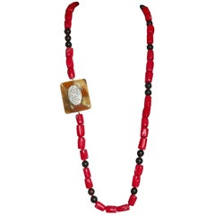 Long Coral Gold Ebony Necklace