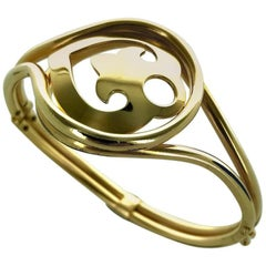 French O.J. Perrin Yellow Gold Heart Shape Bracelet Bangle