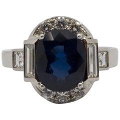 GemTech Certified 3.36 Carat Blue Sapphire 1.14 Carat Diamond White Gold Ring