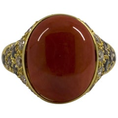 Mediterranean Red Coral 2.20 Carat White and Black Diamond Yellow Gold Ring