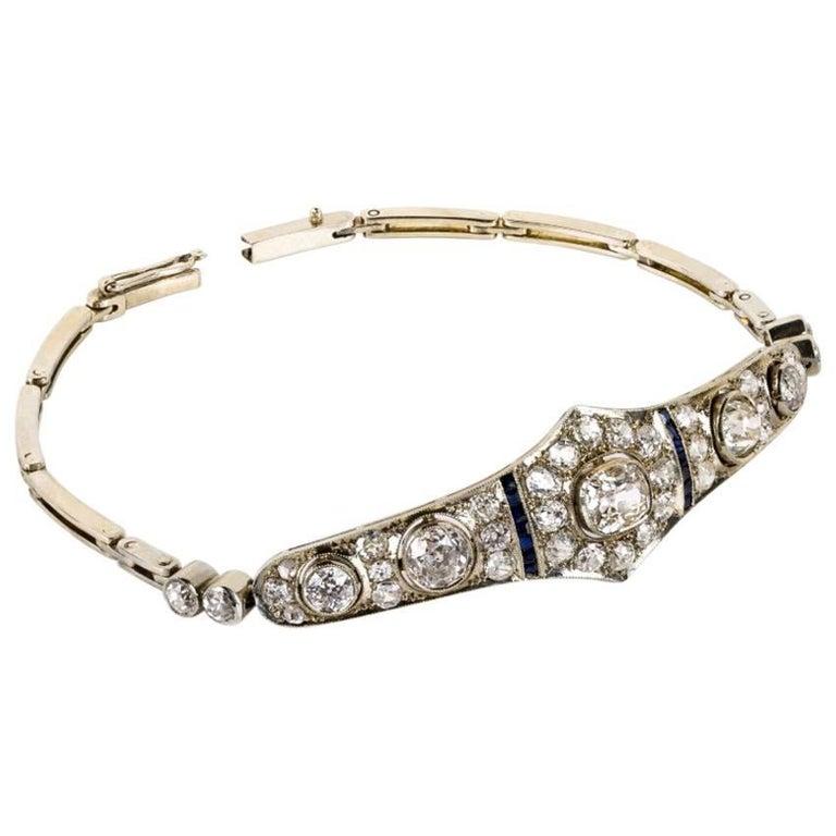 1920s Art Deco Diamond Sapphire and Platinum Bracelet