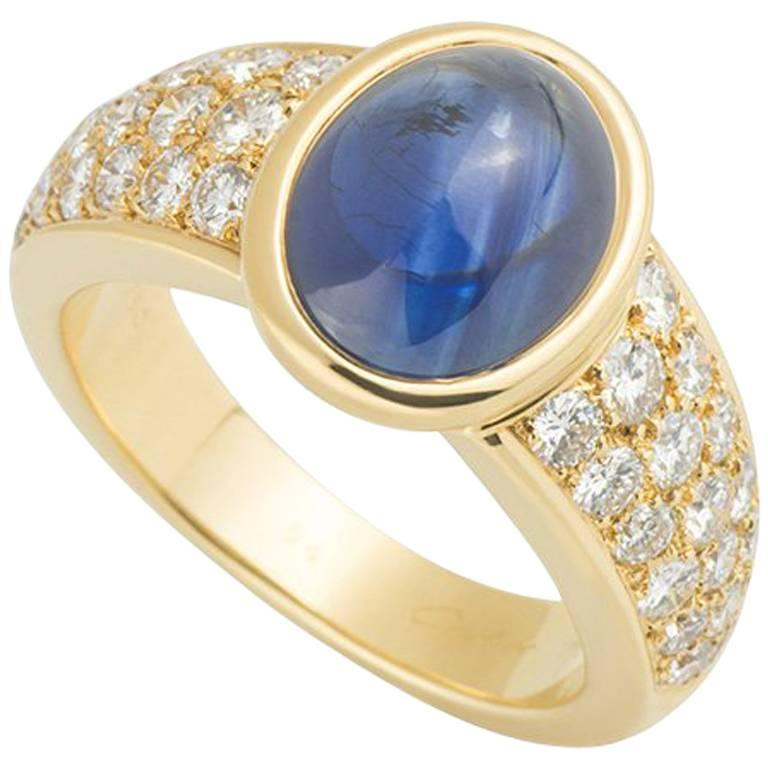 Cartier Yellow Gold Sapphire and Diamond Ring