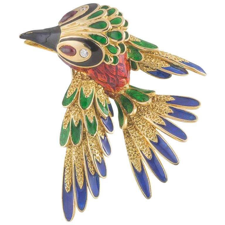 Asprey Gold Diamond, Ruby and Enamel Woodpecker Brooch