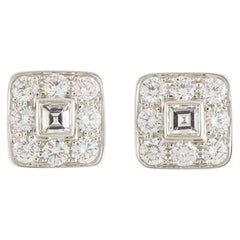 Tiffany & Co. Platinum Diamond Stud Earrings 1.52 carats