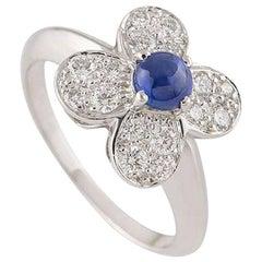 Van Cleef & Arpels Diamond and Sapphire Alhambra Ring