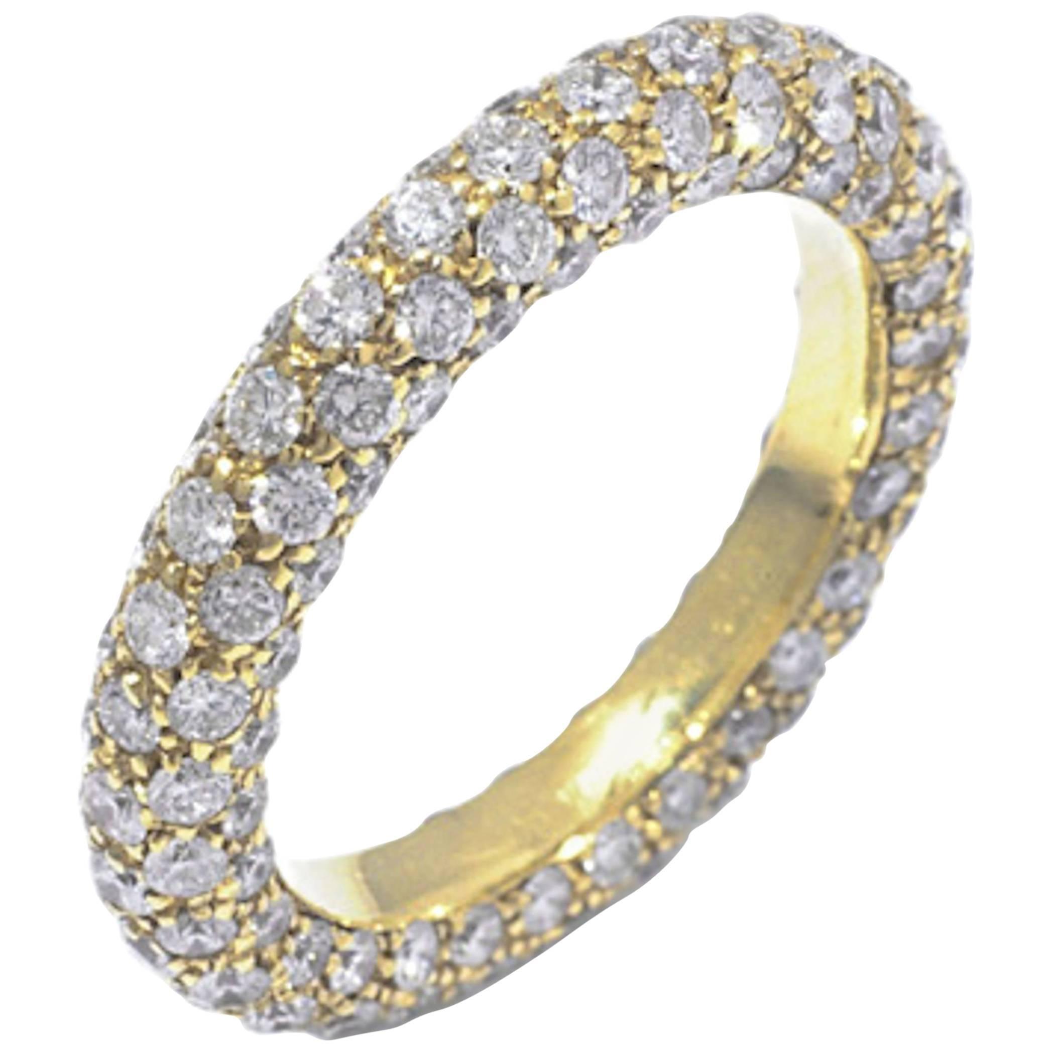 18 Karat Yellow Gold  Classic Eternal Pavè GARAVELLI Band Ring