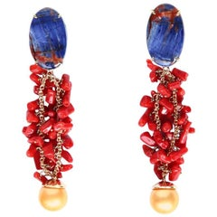 Coral Gold Natural Pearl Sodalite Yellow Gold Earrings