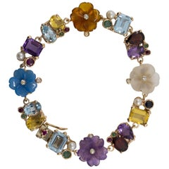 Emerald Ruby Sapphire Diamond Citrine Agate Pearl Yellow Gold Flowers Bracelet