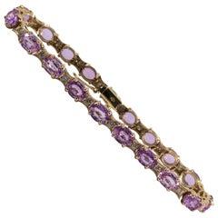 18.65 Carat Pink Sapphire 0.50 Carat Diamond Yellow Gold Bracelet