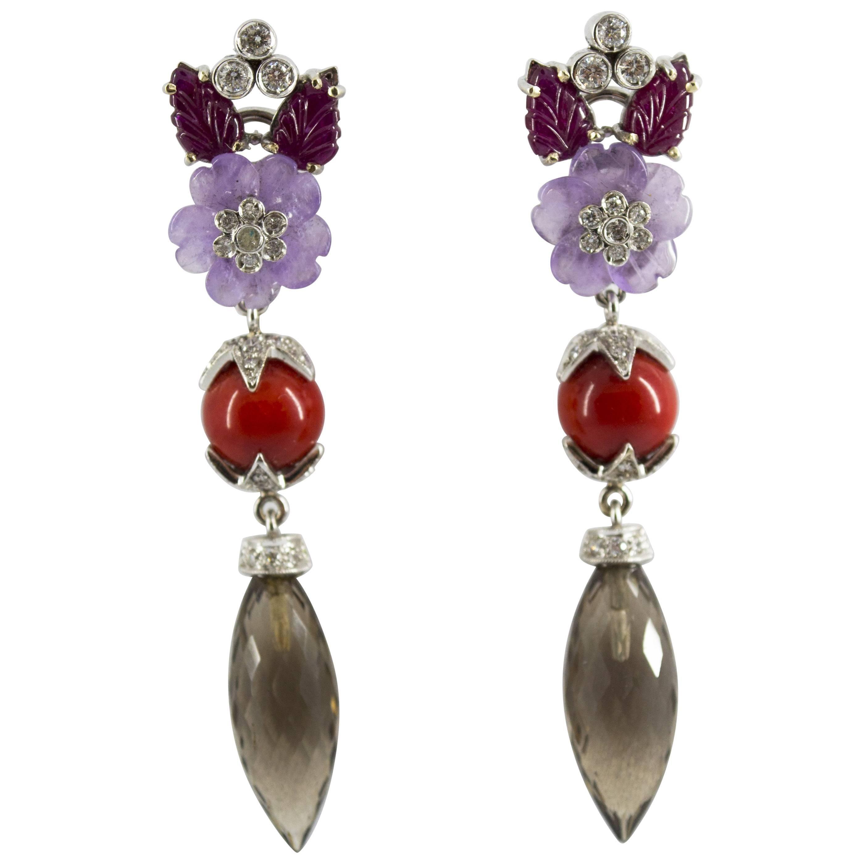 4.30 Carat Ruby 1.10 Carat Diamond Agate Fume Quartz White Gold Clip-On Earrings
