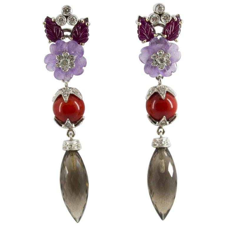 4.30 Carat Ruby 1.10 Carat Diamond Agate Fume Quartz White Gold Clip-On Earrings For Sale